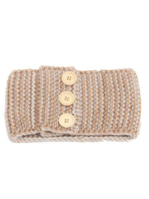 women's Warm Crochet Button Elastic Hair Band - CAMEL  Mobile
