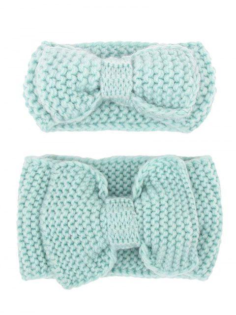 hot Bows Crochet Mom and Kid Elastic Hair Band Set - LAKE BLUE  Mobile