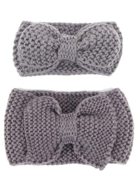 outfit Bows Crochet Mom and Kid Elastic Hair Band Set - GRAY  Mobile
