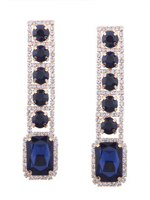 Rhinestone Faux Gem pendientes geométricos brillantes - Azul  Mobile