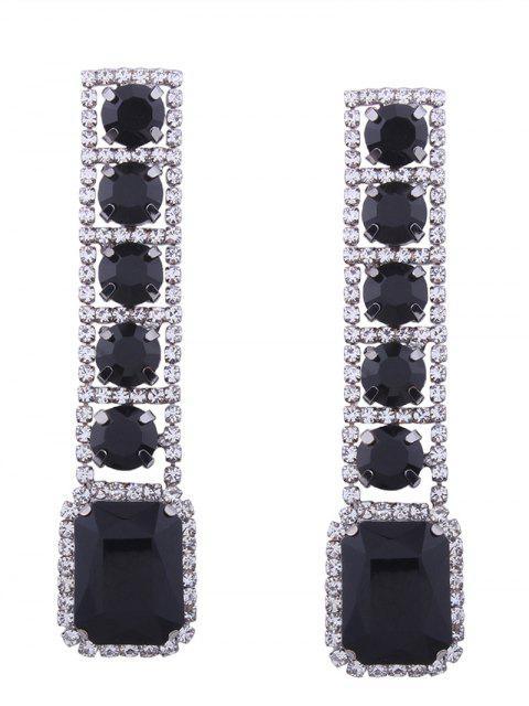 Boucles d'oreilles géométriques brillantes et strass Faux Gem - Noir  Mobile