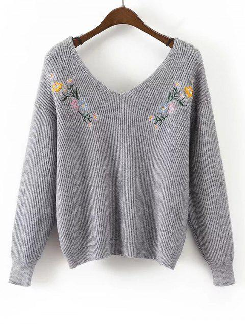 shop Loose V Neck Floral Embroidered Sweater - GRAY ONE SIZE Mobile