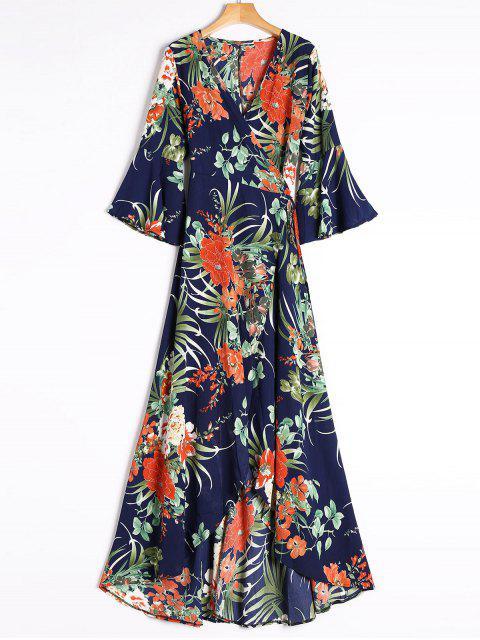 Maxi Wickel Kleid mit Schlitz und Tropischem Druck - Blau S Mobile