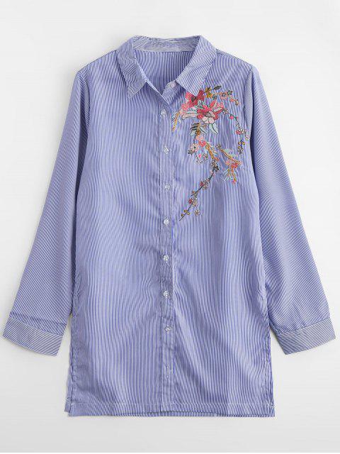 Camisa rayada bordada floral floja - Raya L Mobile