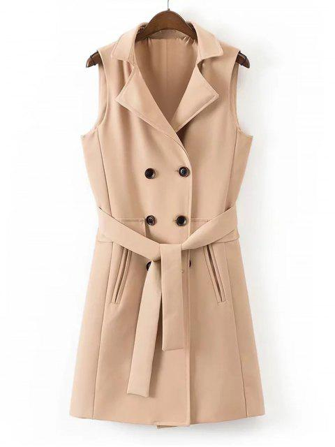 ladies Belted Back Slit Double-breasted Waistcoat - KHAKI M Mobile