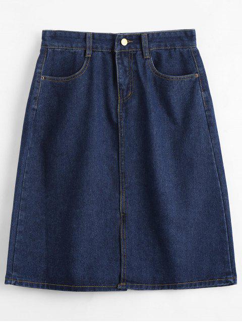 Falda de dril de algodón de longitud de rodilla - Azul Claro S Mobile