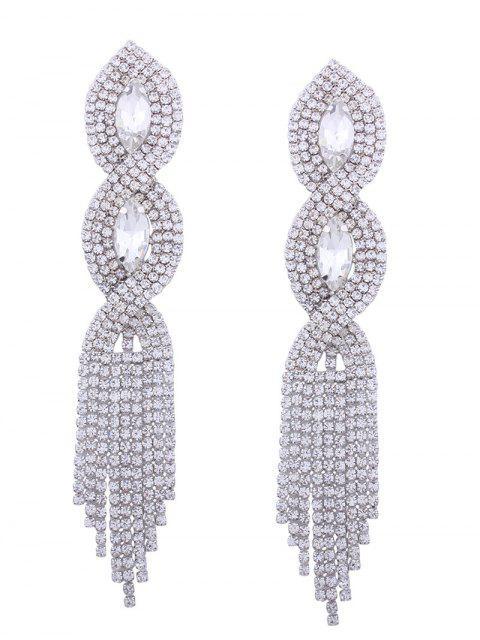 Rhinestoned Faux Kristall Kronleuchter Ohrringe - Silber  Mobile