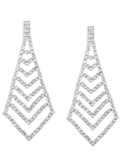Rhinestone partido geométrico brillantes pendientes - Plata  Mobile