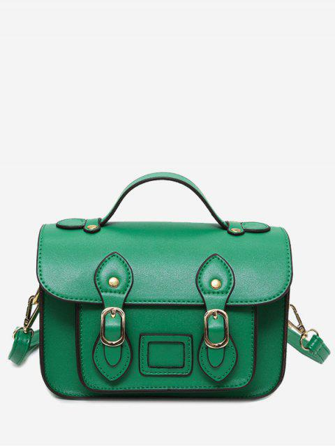 Faux Leather Double Buckle Straps Crossbody Bag - Vert  Mobile