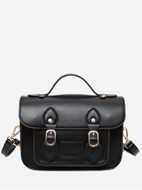 buy Faux Leather Double Buckle Straps Crossbody Bag - BLACK  Mobile