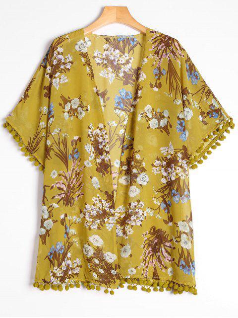 Blumen Druck Seitliche Schlitz Verschönerte Bluse - Blumen Eine Größe Mobile