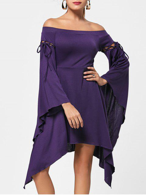 new Flare Sleeve Off Shoulder Asymmetric Dress - CONCORD 2XL Mobile