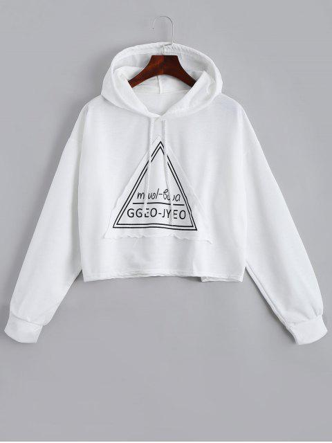 latest Letter Drawstring Hoodie - WHITE ONE SIZE Mobile