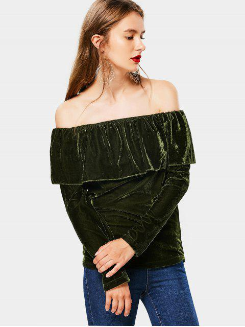 womens Off The Shoulder Flounce Velvet Blouse - ARMY GREEN L Mobile