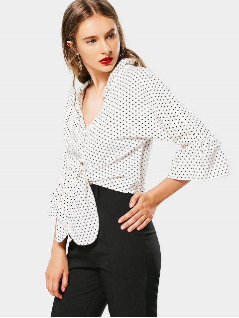 latest Plunging Neck Ruffled Polka Dot Blouse - WHITE L Mobile