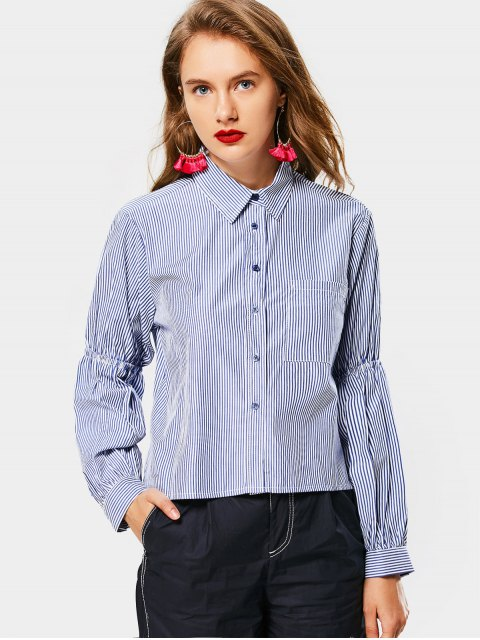 online Button Up Striped High Low Pocket Shirt - BLUE L Mobile