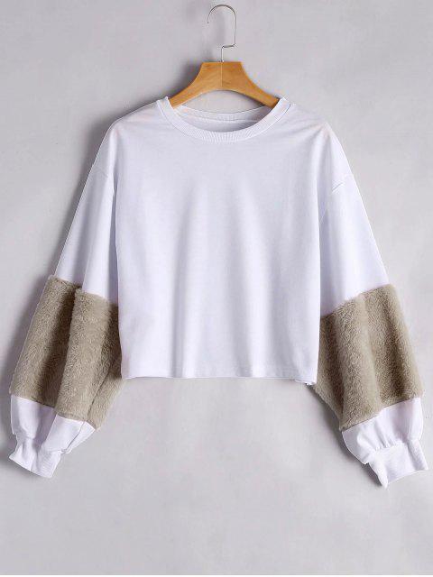 lady Puff Sleeve Faux Fur Embellished Sweatshirt - KHAKI S Mobile