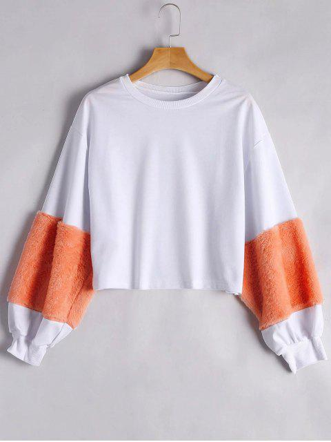 fashion Puff Sleeve Faux Fur Embellished Sweatshirt - ORANGE S Mobile
