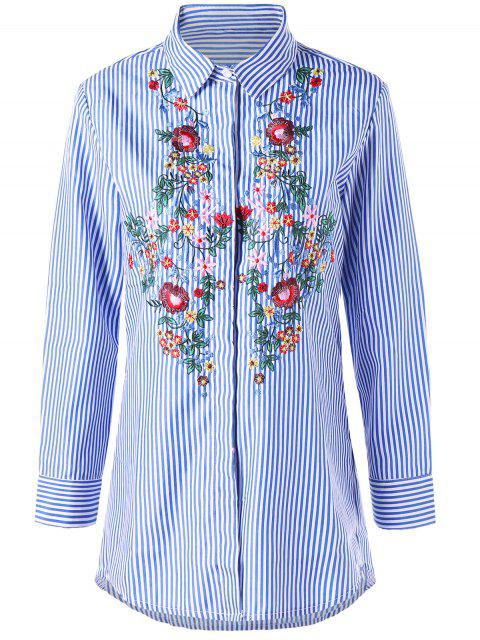 lady Striped Tunic Floral Embroidered Shirt - BLUE STRIPE 2XL Mobile
