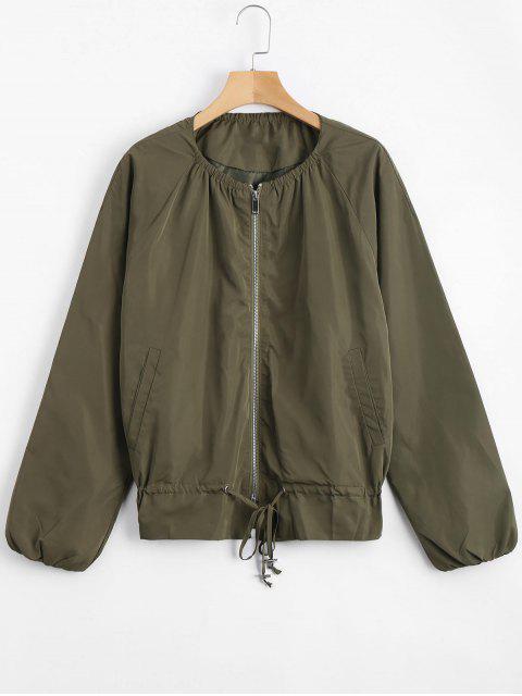 Zip-Up-Jacke mit unsichtbaren Taschen - Armeegrün S Mobile