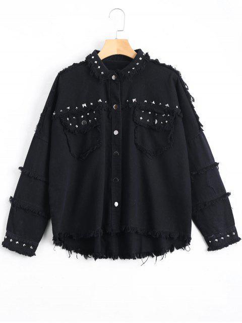 best Rivet Embellished Pockets Frayed Hem Jacket - BLACK S Mobile