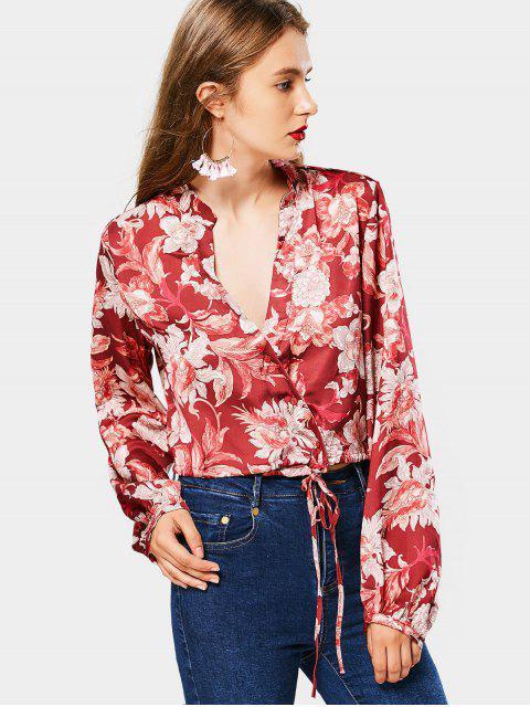 outfit Plunging Neck Floral Print Blouse - FLORAL L Mobile