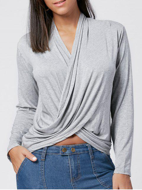 Kreuz verdrehtes T-Shirt - Grau M Mobile