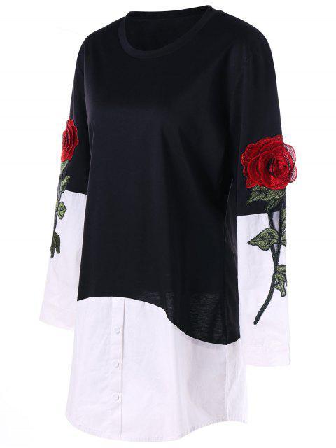 affordable Rose Applique Contrat Shirt Hem Longline Top - BLACK XL Mobile