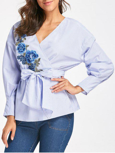 fancy Embroidery Wrap Blouse with Tie Belt - BLUE STRIPE M Mobile