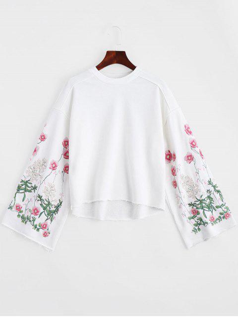 Sweatshirt mit Rundhalsausschnitt und Blumen-Stickerei - Weiß M Mobile