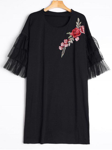 Kleid mit Halsband und Stickerei, Rüsche an den Ärmel - Schwarz L Mobile