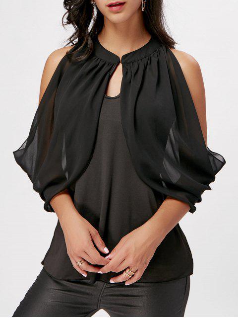 new Cold Shoulder Chiffon Insert Ruffle Blouse - BLACK S Mobile