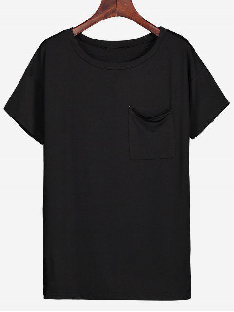 Rundes Kragen-Seitenschlitz-Taschen-T-Stück - Schwarz L Mobile