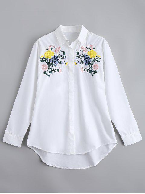 Camisa bordada suelta del botón abajo - Blanco M Mobile