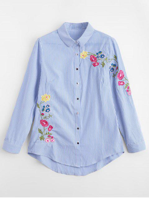 sale Loose Stripes Embroidered Shirt - STRIPE S Mobile