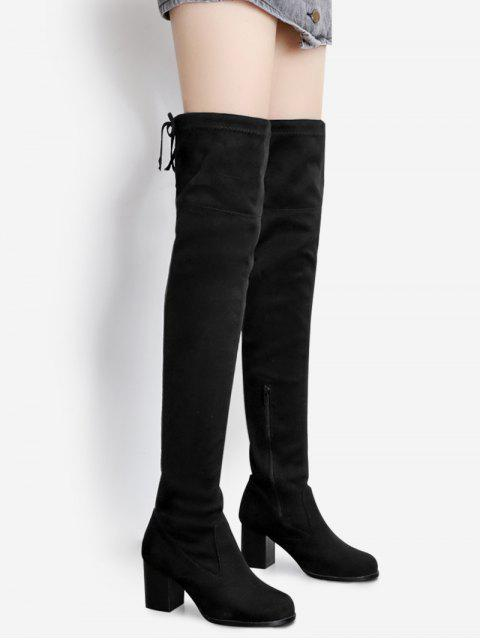 lady Suede Pointed Toe Over The Knee Boots - BLACK 37 Mobile