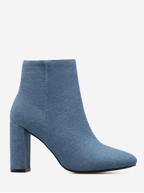hot Block Heel Denim Boots - BLUE 38 Mobile