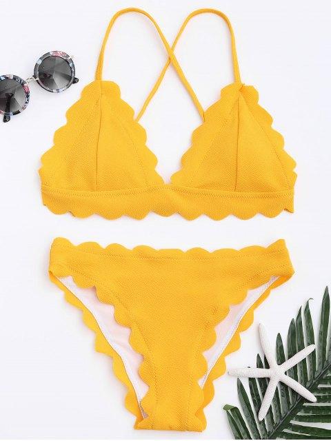 Conjunto de bikini festoneado - Amarillo M Mobile