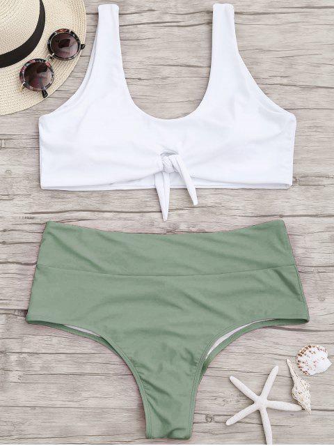 Bikini Bicolore de Grande Taille  Froncé et Noué - Vert 3XL Mobile
