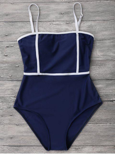 online Cami Piping One Piece Swimwear - DEEP BLUE L Mobile