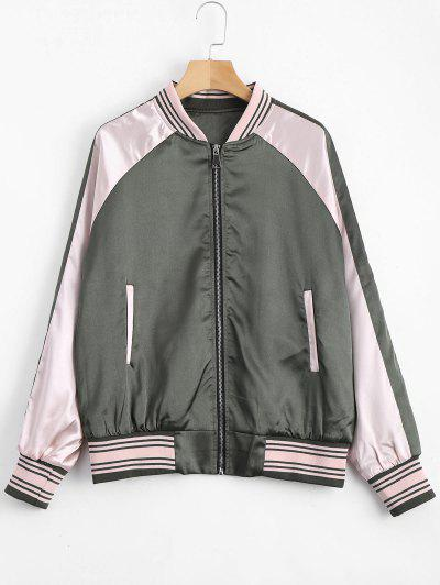 Zippered Raglan Sleeve Crane Floral Jacket - Army Green L