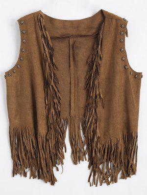 Asymmetric Fringed Draped Waistcoat
