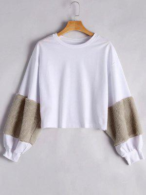Puff Sleeve Faux Fur Embellecido Sudadera