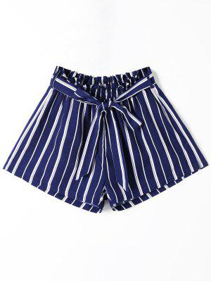 Striped Wide Leg Shorts with Tie Belt