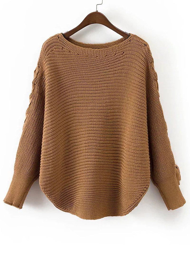Batwing Sleeve Loose Lace Up Sweater 225992501