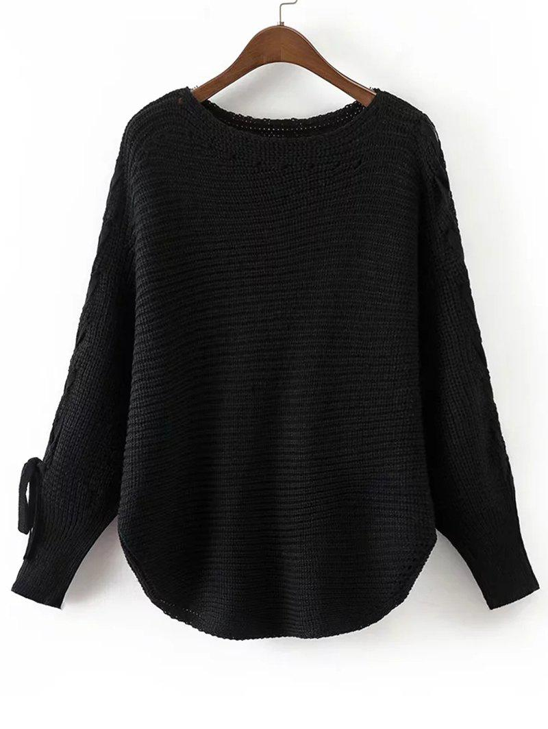 Batwing Sleeve Loose Lace Up Sweater 225992502