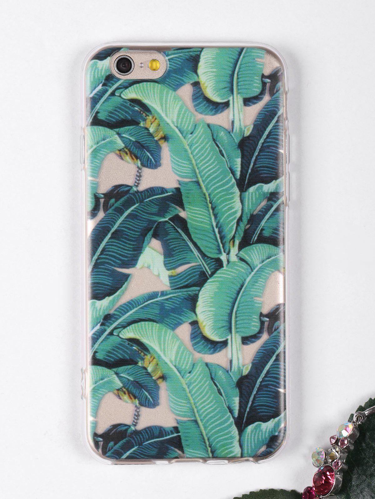 Étui de téléphone à motif de feuilles tropicales pour Iphone