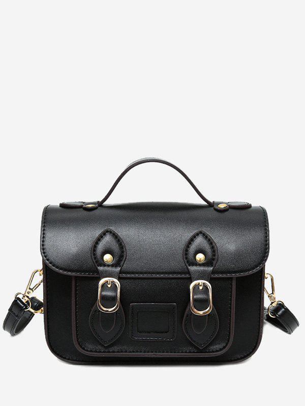 Faux Leather Double Buckle Straps Crossbody Bag