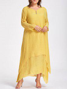 فستان ماكسي مطرز زر الحجم الكبير - الأصفر 5xl