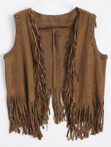 معطف الصدرية هامشي غير متماثل - براون العميق